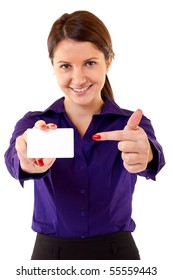 Portrait of businesswoman in suit holding her visiting card