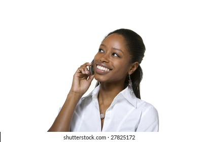 Portrait of businesswoman talking on cell phone