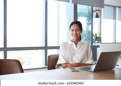 Portrait Of Businesswoman Working On Laptop In Boardroom