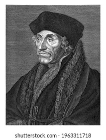 Portrait bust of the scholar Desiderius Erasmus. Below the portrait a verse in Latin; on the right the Dutch translation.