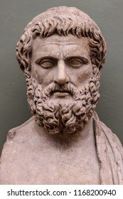 Portrait Bust of Sophocles on a Herm. Sophocles is one of three ancient Greek tragedians or play writers