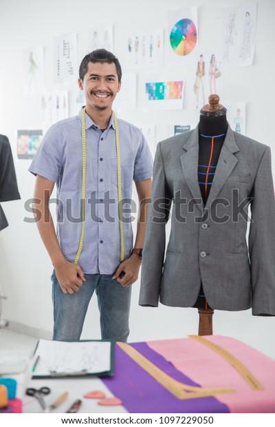 Portrait Busy Male Fashion Designer Make Stock Photo Edit Now 1097229050