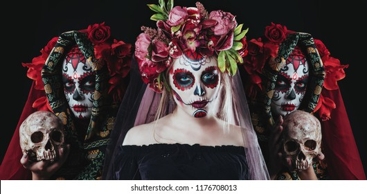 Portrait of Calavera Catrina. Sugar skull makeup. Dia de los muertos. Day of The Dead. Halloween.