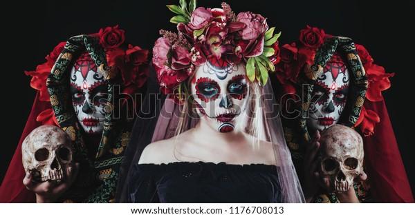 Portrait of Calavera Catrina. Sugar skull makeup. Dia de los muertos. Day of The Dead. Halloween.