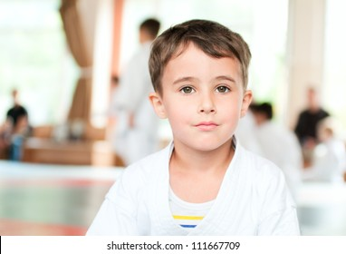 Portrait of calm karate boy training in sport hall