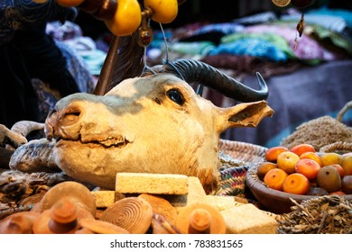 portrait of a caprine's head at a sales stall in the souks of Marrakesh