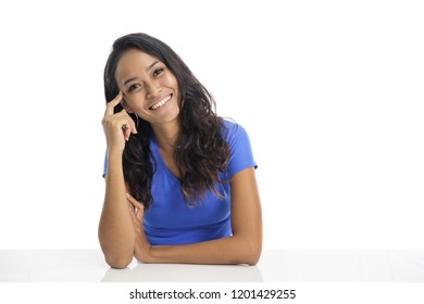portrait of casual college student pretending like thinking while smiling isolated on white background