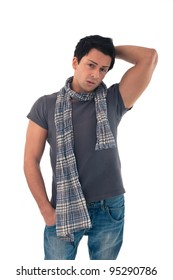 Portrait of casual man wearing scarf on white background.
