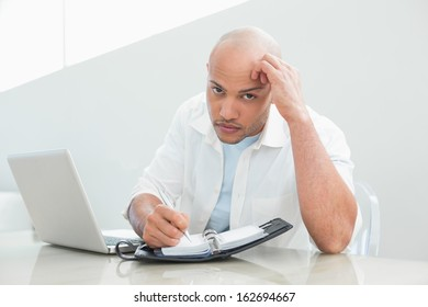 Portrait of a casual serious young man with laptop writing in diary at home