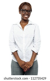 Portrait of casual smiling african businesswoman isolated against white background