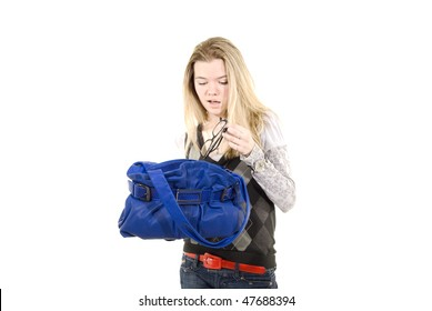 Portrait of a casual woman with  blue leather bag