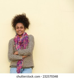 Portrait of a casual young black woman smiling