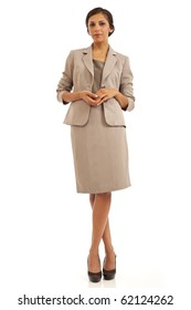 Portrait of casual young business woman in suit