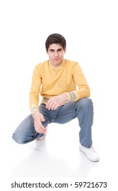 Portrait of a casual young  man. Isolated on white.