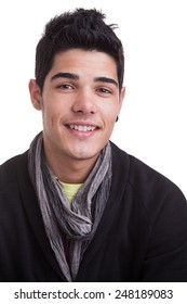 Portrait of a casual young man, smiling, over white background.