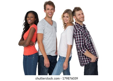 Portrait of casually dressed young people over white background