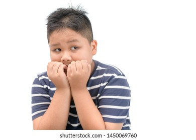 Portrait of caucasian boy with scared terrified facial expression isolated on white background, Emotion concept