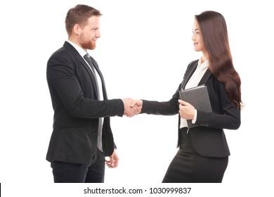 Portrait of Caucasian businessman and Asian businesswoman cooperating