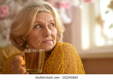 Portrait of a caucasian elderly woman at home