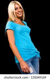 Portrait of a Caucasian female on black background