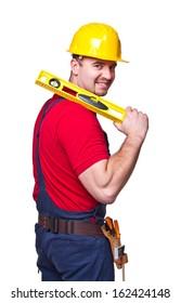 portrait of caucasian handyman isolated on white background