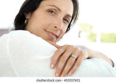 Portrait of a caucasian middle-aged woman
