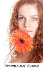portrait caucasian young woman.