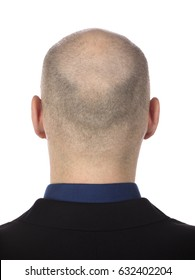 Portrait of a caucasion of the back of balding man from shoulders isolated on white background
