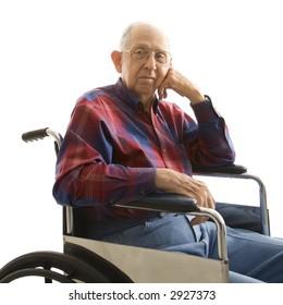 Portrait of Caucasion elderly man sitting in wheelchair.