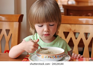 Portrait of the charming little girl during a dinner
