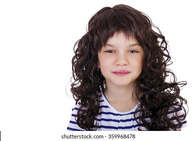 Portrait of a charming little girl, isolated on white background