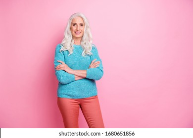 Portrait of charming lovely pretty old woman cross her hand ready care after kids grandchildren wear good look pullover isolated over pastel color background