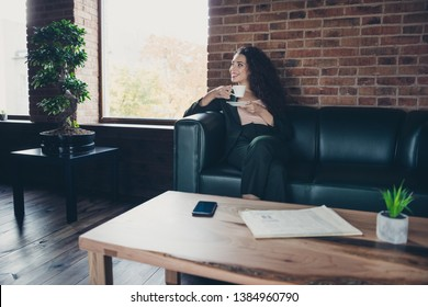 Portrait charming nice ceo worker free time leisure sit divan take hot beverage interior have coffee table modern technology device she content glad calm modern classic jacket long wavy curly hair