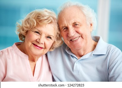 Portrait of charming seniors enjoying spending time together