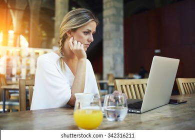 Portrait of charming young women entrepreneur work on portable laptop computer during coffee break, gorgeous female freelancer using net-book for remote job while sitting in modern cafe bar interior