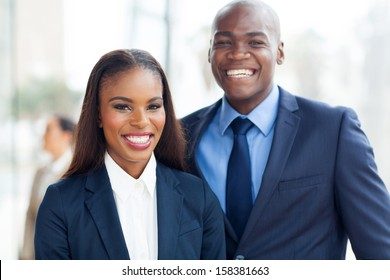 portrait of cheerful african business team