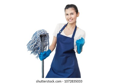 Portrait of Cheerful Asian Woman Having Fun While Cleaning Isolated On White. Happy housewife holding mop, cleaning housekeeper maid service concept