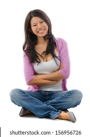 Portrait of cheerful Asian woman sitting isolated over white background.