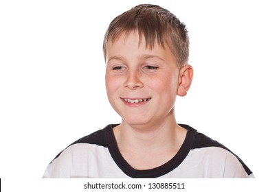 portrait of cheerful boy on a white background