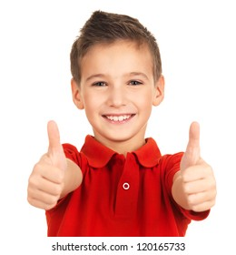Portrait of cheerful boy showing thumbs up gesture, isolated over white background