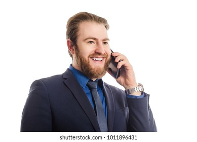 Portrait of a cheerful businessman talking on the phone isolated on a white background. answers a phone call serious