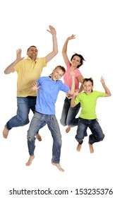 Portrait of cheerful family of four