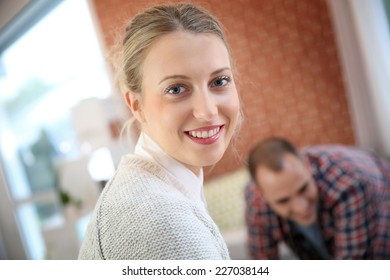 Portrait of cheerful student girl
