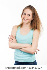 Portrait of a cheerful woman standing, isolated on white
