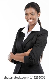 Portrait of a cheerful young African American businesswoman with hands folded.  Isolated on white