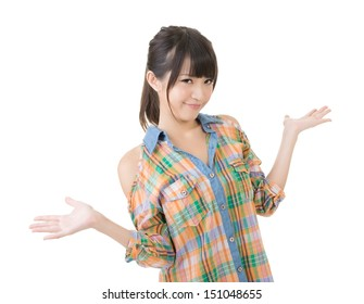 Portrait of cheerful young asian woman shrugging. Isolated on the white background.