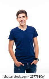 Portrait of a cheerful young casual man isolated on a white background. Looking at camera