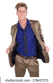 Portrait of a cheerful young man smiling and opening suit jacket on isolated white background