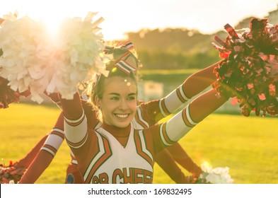 Portrait of a cheerleader in action