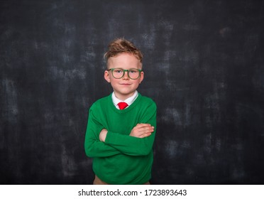 Portrait of child boy in green sweater and glasses against blackboard. Back to school